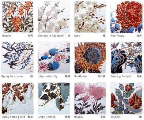 12種の草木花~ガラスプレートセット